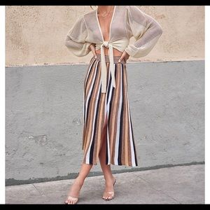New Express Rocky Barnes striped midi skirt